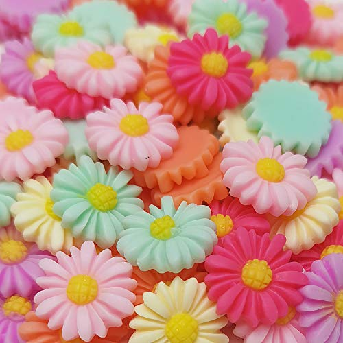 Chenkou Craft Random 100pcs Mix Color Lovely Daisy Flower Flatback Resin Charms Hair Clip Hairpin DIY Craft Jewelry Phone Decoration (Mix, 10mm(3/8'))