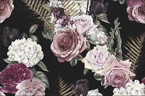Muralo Fototapete Blumen 240 x 360 cm Vlies Tapete Wandtapeten Rosen Vintage Wohnzimmer Schlafzimmer Moderne Wandbilder XXL Pflanzen Natur Wand Dekoration