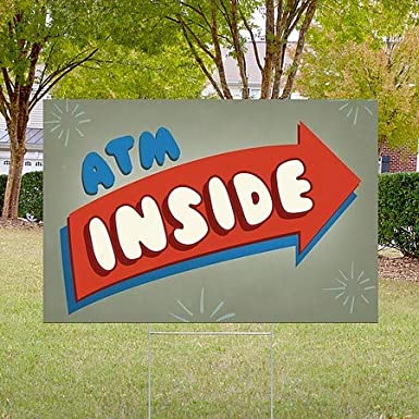 CGSignLab Nostalgia Arrow Double-Sided Weather-Resistant Yard Sign ATM Inside 18x12