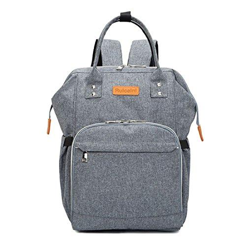Baby Wickeltasche Reise Rucksack,Isolierte Tasche, Wasserdicht Stoffe, Multifunktional, Passform für Kinderwage, Große Kapazität Modern Einzigartig Tragbar Handtasche (Gray)