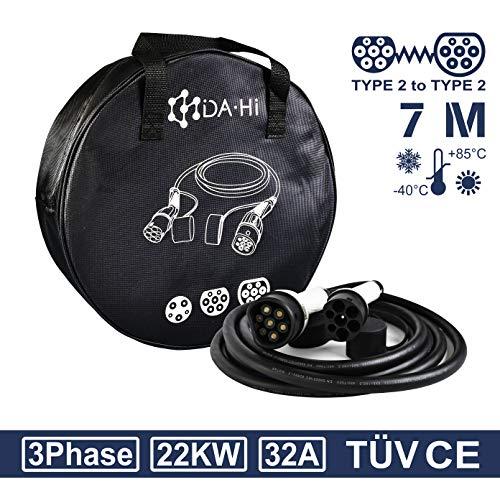 DA • Hi Cable de carga para vehículos eléctricos e híbridos tipo 2 | 22 KW 32 A 3 fase 7 m blanco / negro | Certificación TÜV y CE, IP54, Protección contra lluvia, viento y polvo