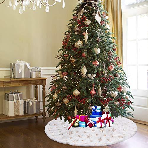 Upgrow Weihnachtsbaumdecke Weihnachtsbaum Rock Plüsche Weiche Weihnachtsbaum Decke Christbaumständer Teppich, Weihnachtsdeko für Weihnachtsfeiertag (Gold-90cm)