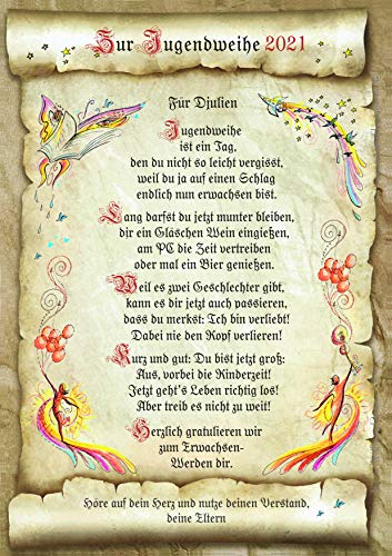 Die Staffelei Geschenk Karte Urkunde 2021 Jugendweihe, Zeichnung mit humorvollem Gedicht, A4 Bild-Präsent zum Erwachsenwerden, persönlich durch Wunschtext