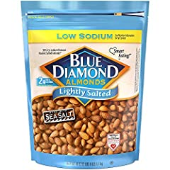 Contains 1 - 40 ounce bags of blue diamond lightly salted almonds A healthy handful of 28 lightly salted premium almonds contains just 40 milligram of sodium – the right amount to bring out the almond taste without breaking your resolve to cut down o...