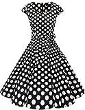 DRESSTELLS Version 6.0 Vintage 1950's Robe de soirée Cocktail rétro Style années 50 Manches Courtes Black White Dot L