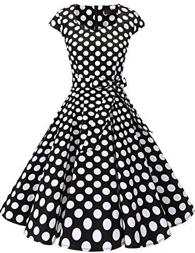 Dresstells Vintage 50er Swing Party kleider Cap Sleeves Rockabilly Retro Hepburn Cocktailkleider Black White Dot 3XL