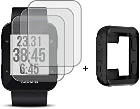 Watch Screen Protector (3 Pack) Compatible Garmin Forerunner 35 Tempered Glass Film Anti-Scratch High Definition Full Coverage and (1Pack) Silicone Case for Smart Watch