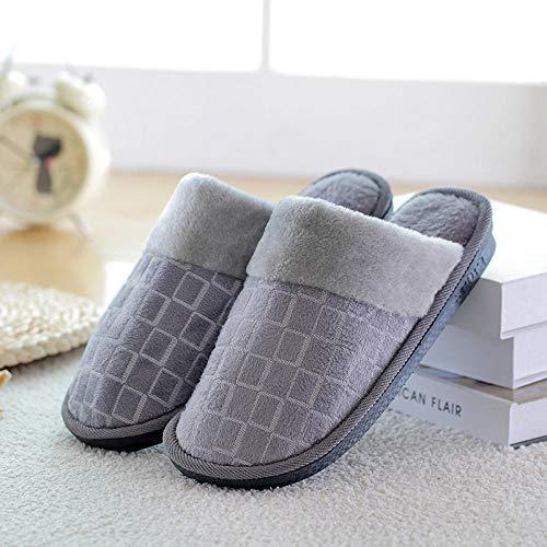 QFYD FDEYL Plüsch Indoor-Anti-Rutsch-Schuhe,Winter Plus Dicke warme Baumwollpantoffeln aus Samt @ Green ash_40 / 41, Fuzzy Slippers Pantoffel