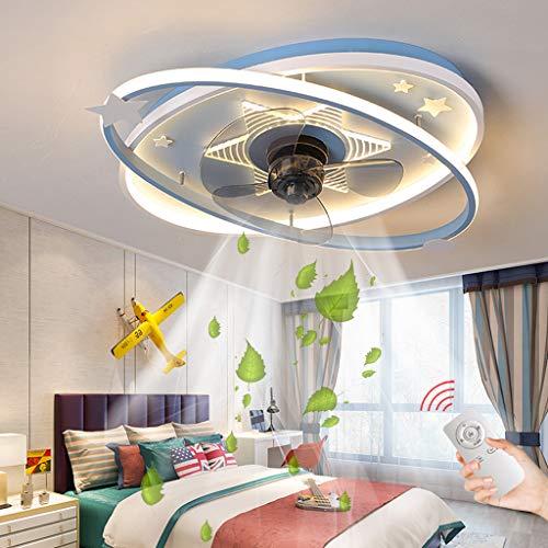 Ventilador De Techo Con Iluminación Luz De Techo De Dibujos Animados LED Lámpara De Techo Con Ventilador Moderno Con Control Remoto Lámpara Habitación De Los Niños Dormitorio Lámpara Colgante (Blue)