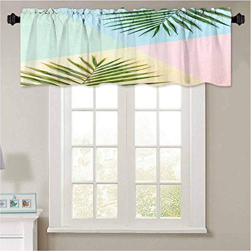 YUAZHOQI Valances Tropical Green Palm Leaves on Colorful Background Nature Concept Flat Lay top View Thermal Insulated Valance for Bedroom 42' W x 18' L