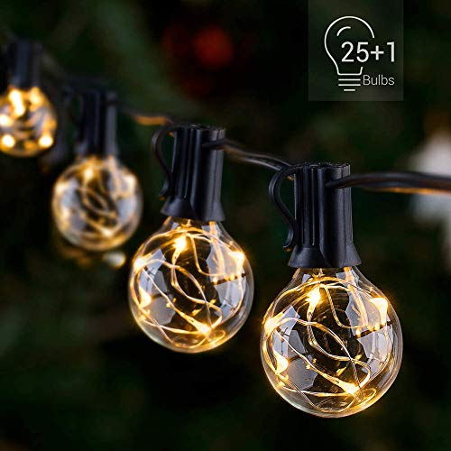 HONGLONG LED Outdoor String Lights - Waterproof Patio String Lights - 26FT 25Bulbs G40 Globe String Lights Outdoor Decorative String Lights for Backyard Pergola Party