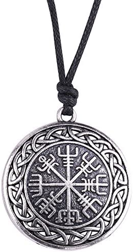 VASSAGO Vintage Norse Viking Vegvisir Compass Celtic Knot Pendant Talisman Necklace for Men product image