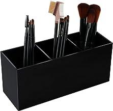 Weiai Black Makeup Brush Holder Organizer, 3 Slot Acrylic Cosmetics Brushes Storage Solution