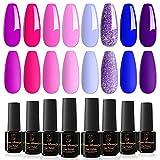 Orna Beauty Esmalte de Uñas Semipermanente,8 Colores Serie Púrpura Caja de Regalo de Esmalte de...