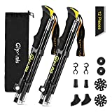 Glymnis Walking Trekking Poles 2pc/set Collapsible Lightweight Telescopic Aluminum Walking Sticks Hiking Poles with Quick Lock System for Hiking Mountaining Camping Backpacking Walking (Yellow)