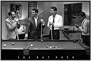 (34 x 22) Frank Sinatra and The Rat Pack Playing Pool Quality Black Metal Framed Poster