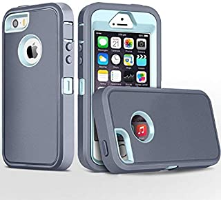 iPhone 5S Case,iPhone SE Case,Fogeek Heavy Duty PC and TPU Combo Protective Body Armor Case Compatible for iPhone 5S,iPhone SE and iPhone 5 with Fingerprint Function (Grey/Light Blue)