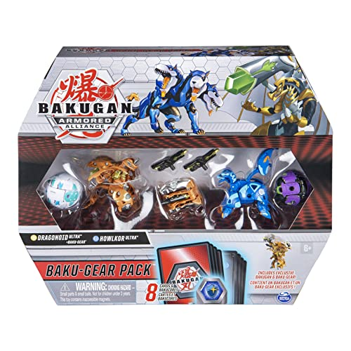 Bakugan Baku-Gear Pack with 4 Armored Alliance Bakugan (Ultra Aurelus Dragonoid, Ultra Aquos Howlkor, Basic Haos Pegatrix, Basic Darkus Hydorous) and 1 Set Baku-Gear