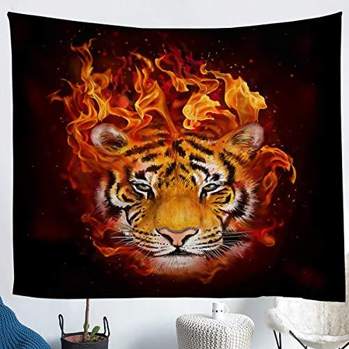 Tapiz de tigre con diseño de animales abstractos de la llama dorada para colgar en la pared para niños, niñas, adolescentes, adultos, tapices de moda para dormitorio, tamaño mediano 51 x 59