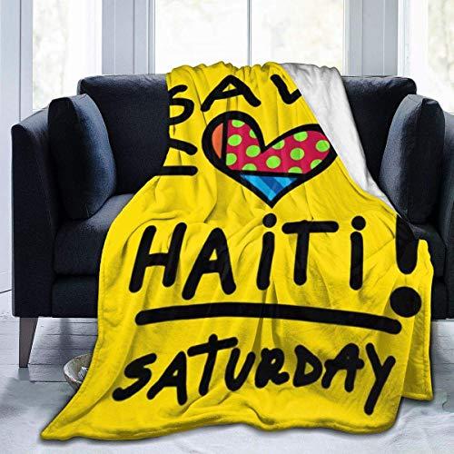 AEMAPE Manta de Tiro Galaxy Voyage Save Haiti Day Manta de Lana Suave Mujeres Hombres Manta de Cama cálida Todas Las Estaciones