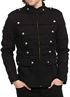 Mens Gothic Military Jackets Casual Band Steampunk Vintage Stylish Jacket with Pockets