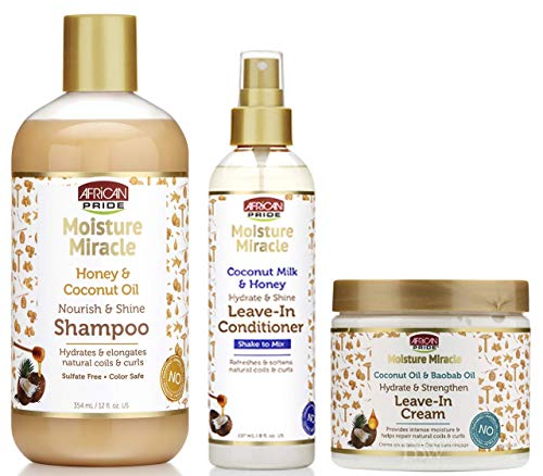 African Pride Moisture Miracle Shampoo, Leave-in Conditioner and Leave-in Cream SET, Coconut Oil, Honey, Baobab Oil Hydrate Coconout Oil and Milk