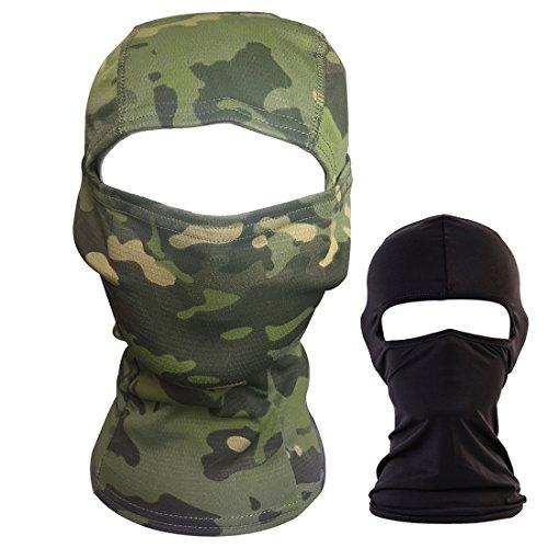 QHIU Taktische Maske Ninja Kapuze Schnell-trocknende Camouflage Volles Gesicht Balaclava Outdoor Sport Armee Radfahren Paintball Airsoft(2 Paquete)