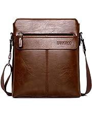 Mochatopia Bolso de Cuero Bandolera Hombres Messenger Hombro Bolso de Negocios Bolsa Cruzada Cuerpo para iPad Tabletas 9.7 Pulgadas [Marrón]