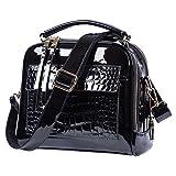 Black purses and handbags For Women Crossbody Leather Shoulder Bags Tote Bag (Black)