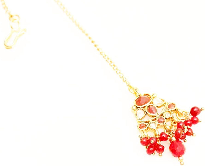 Glamorous Collection Bollywood Wedding Gold Ruby Kundan Bridal Headpiece Forhead Tikka Tika Jewelry