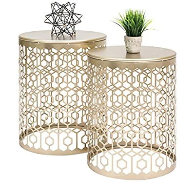 Best Choice Products Indoor Outdoor Decorative Nesting Round Side End Accent Coffee Table Nightstands, Set of 2
