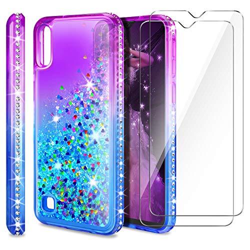 AROYI Cover Samsung Galaxy A10 + Pellicola Protettiva in Vetro Temperato[2 Pack], Brillantini Diamond Sabbie Mobili TPU Silicone Custodia per Samsung Galaxy A10 (Porpora Blu Gradient)