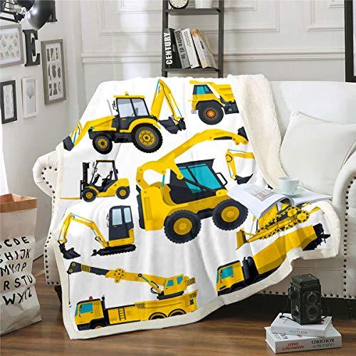 Homewish Manta de felpa para excavadora para niños, tractor, camión, Sherpa, tamaño doble para niños, niñas, adolescentes, construcción de vehículo de forro polar, manta de franela para coche, grúa