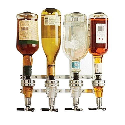 RASHION Soporte para 4 botellas montado en la pared, dispensador óptico para bebidas espirituosas de vino, soporte de mayordomo de barra de acero para barra casera (4 botellas)