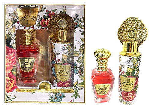Caja de Perfume Zahoor Al Lail Intense Arab Oriental Unisex Agua de Perfume 100ML + Desodorante 200ML Notas: Naranja, Ámbar, Chocolate, Fresas, Miel, Oud, Pachulí, Rosa