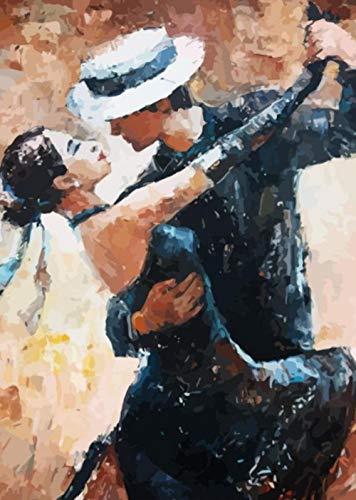 IJBSDJI DIY Ölgemälde Von Numbers,Malen Nach Zahlen Kit,Für Erwachsene Anfänger Kinder Painting Für Home Decor 40X50Cm-Tanzendes Paar (Ohne Rahmen)