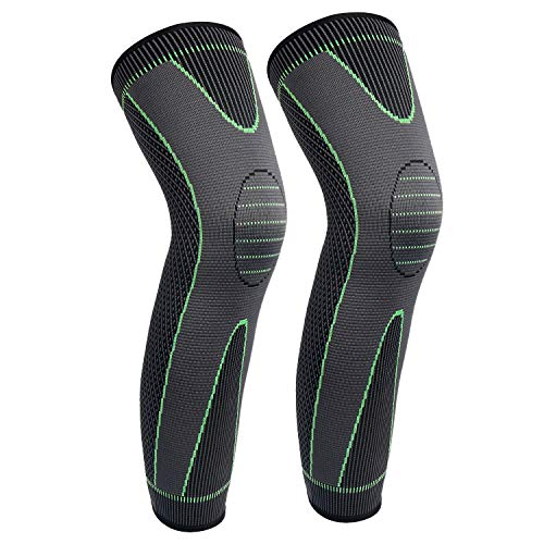 Full Leg Sleeves Long Compression Leg Sleeve Knee Sleeves Protect Leg, for Man Women Basketball, Arthritis Cycling Sport Football, Reduce Varicose Veins and Swelling of Legs(Green,L,Pair)