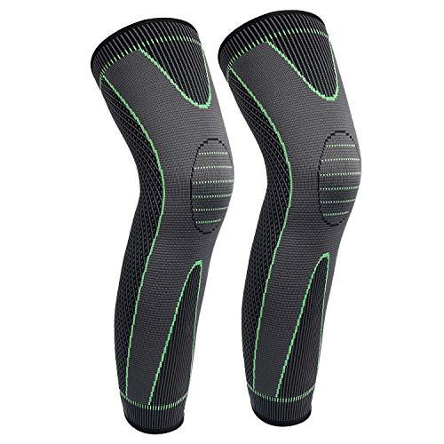 Full Leg Sleeves Long Compression Leg Sleeve Knee Sleeves Protect Leg, for Man Women Basketball, Arthritis Cycling Sport Football, Reduce Varicose Veins and Swelling of Legs(Black,XL,Pair)