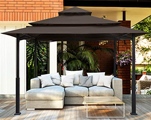 MASTERCANOPY Outdoor Patio Gazebo,Waterproof Soft-Top Steel Garden Gazebo Tent Lawn, Backyard and Deck(12x12FT,Brown)