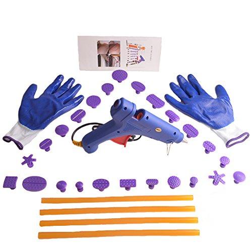 hiyi 31pcs Hohe Qualität PDR Werkzeuge Auto dent Ding Schäden Reparatur Werkzeug zum Entfernen Kleber Klebepistole Kleber Registerkarten mit Arbeiten Handschuhe Dent Repair Kit
