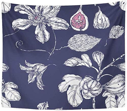 Tapestry Tree Pink Tropical with Garden Dates and Flowers on Indigo in White Quince Abstract Home Decor Wall Hanging for Living 200x150cm