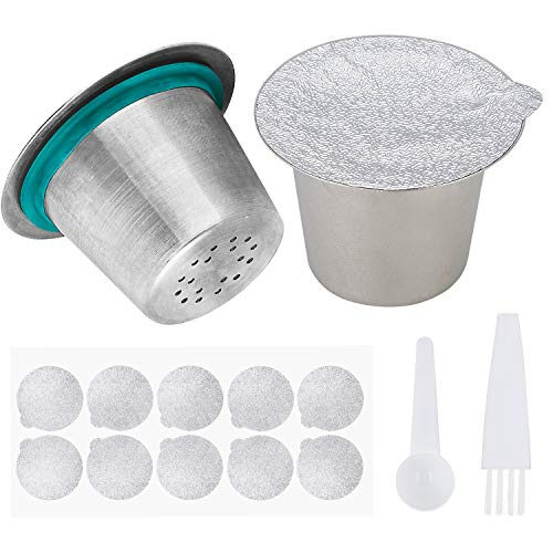 Refillable Stainless Steel 304 Metal Espresso Coffee Filter Capsule Refilling Cup Maker Pods Work For Nespresso Coffee Machine 2 pack(With Spoon,Seals And Brush)