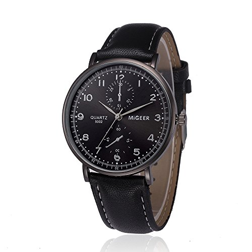 Herren Uhren, BBring MIGEER Männer Fashion PU Leder Analog Legierung Quarz Armbanduhr Chronograph Sportuhr Lässige Businessuhr (Schwarz)
