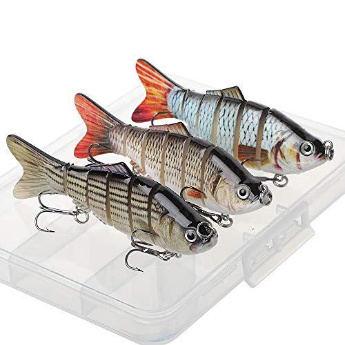 HXC Lot de 3 leurres de pêche à joints multiples...