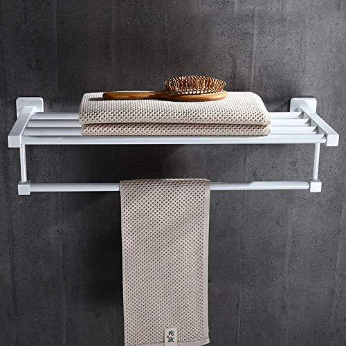 Oanzryybz Cuarto de baño Toallero montado en la Pared Baño Toallero Doble de Acero Inoxidable 304 Toallero Blanco (Size : Total Length 60cm)