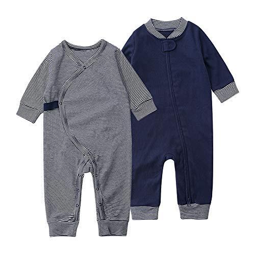 Baby Schlafstrampler Schlafoverall 100% Bio-Baumwolle ohne Fuß Einteiliger Langarm Schlafanzug Kleinkinder Strampelanzug Pyjama Reißverschluss Knopf 2er Pack Set Unisex für 0-24 Monate (Blau, 73cm)