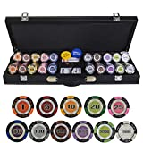 TX GIRL Texas Hold'em Poker Chips Conjunto con PU-Piel/Caja/Maleta De Trigo Corona Ficha De Póker De La Arcilla Casino Poker Chips 200/300/400 / 500PCS / Set (Color : 500pcs Leather)