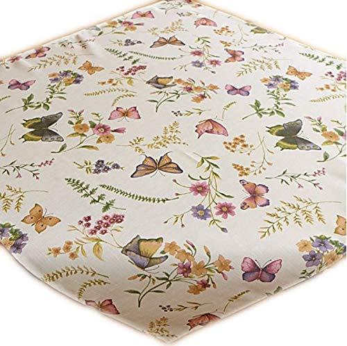 Bügelfreie Tischdecke Eckig Pflegeleicht Creme Schmetterlinge Bunt Gartentischdecke Küchendecke Motivdruck (Mitteldecke 85x85 cm)