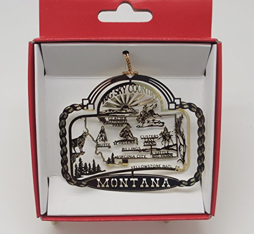 Montana Big Sky Country Brass State Christmas ORNAMENT Yellowstone Billings Glacier National Park + More