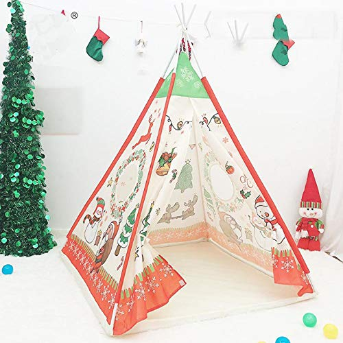Ewendy Christmas Teepee Tent for Kids,Foldable Children Play Tent for Boy and Girl with Christmas Cartoon Canvas Playhouse Toy for Indoor and Outdoor Games